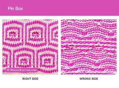 Mosaic Knitting. 2 Colour Slipped Stitch Pattern. Right side vs wrong side of the Pin Box stitch.