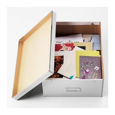 "SMÅRASSEL Box with lid - 10 ¾x13 ¾x6 "" - IKEA /// I am thinking about a few of these to better help organize several of my craft supplies in the back room. The organizational furniture I have is either colorful or white, so I figure white would go the best there. =3"