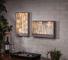 Lighted Branch Wall/Table Decor - Vertical - Wood Decor on the Left in Photo Branch Art, Branch Decor, Diy Wall Art, Wood Wall Art, Diy Wanddekorationen, Lighted Branches, Diy Home Decor, Room Decor, Fairy Lights