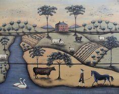 Pastoral Landscape Folk Art Print, The Gentleman Farmer, a print by Donna Atkins The original design was painted on rustic planked wood, then Primitive Painting, Primitive Folk Art, Architecture Design, Map Quilt, Naive Art, Religious Art, Indian Art, Framed Art, Atkins