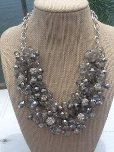 Chunky Silver and Gray Statement Necklace Bridesmaid Necklace Wedding Jewelry