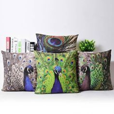 Peacock Gray Green Feather Linen Cotton Cushion Cover Throw Pillow Case 45x45