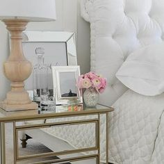 Mirrored Nightstand, Transitional, bedroom, Tracey Ayton Photography