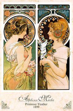 Primrose and Feather - Alphonse Mucha