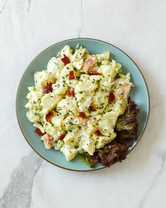 For Vegetarians, just leave out the bacon or use fakin bacon. Recipe | Kitchn Creamy Potato Salad, Gourmet Food Store, Thing 1, Cook At Home, Just Cooking, Vegetable Sides, Food Reviews, Popular Recipes, Salad Recipes