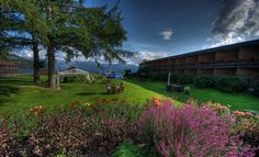The garden of Hardangerfjord Hotel, Øystese, Norway.