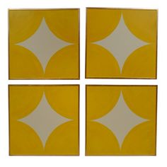 Custom Yellow Prints -----bright yellow acrylic on canvas, geometric design.  4 diamonds create a large yellow circle  high end gold leaf frame  artist unknown