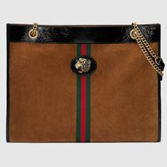 Large tote with tiger head - Gucci Women s Totes 5372190X7BX2876 Cuir Verni  Noir, Daim Marron 1a3103e93f6