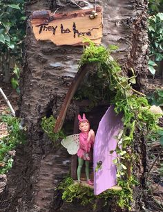 Fairy Door with Fairy Each One of a Kind Handcrafted by Olive Fairy Accessories Fairy House Fairy Door Fairy Window Fairy Swing Fairy Tree Houses, Fairy Garden Houses, Gnome Garden, Garden Crafts, Garden Art, Fairy Furniture, Garden Pictures, Fairy Doors, Enchanted Garden