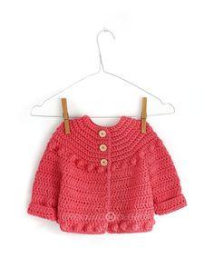 Chaqueta de Crochet Burbujitas para niña [ Tutorial y Patrón GRATIS ] Gilet Crochet, Crochet Baby Cardigan, Black Crochet Dress, Crochet Fabric, Crochet Jacket, Diy Crochet, Crochet Ideas, Crochet Girls, Crochet For Kids