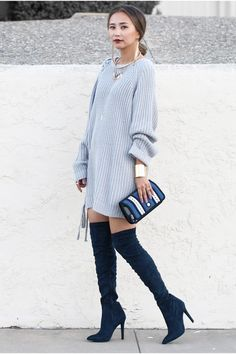 Trend Alert: Over Knee Boots Public Desire x Knit Dress x Jumpfrompaper x Statem