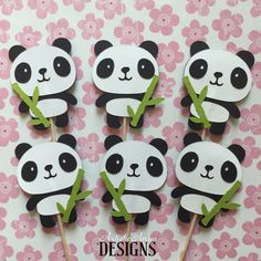 Panda & Bamboo Cupcake Toppers Set of 12  Black and White