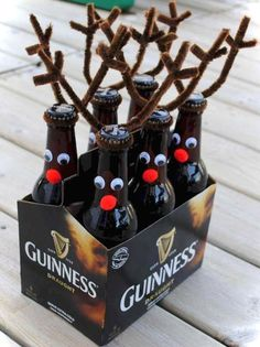 30 Breathtakingly Rustic Homemade Christmas Decorations Reindeer root beer / beer making DIY Cheap Christmas decorations. Diy Christmas Gifts For Family, Homemade Christmas Decorations, Handmade Christmas Gifts, Christmas Fun, Christmas Christmas, Handmade Gifts For Men, Reindeer Decorations, Christmas Quotes, Handmade Ornaments