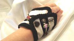 Fantasy Bracelet Black & White Cuff Black Tie by Donellensvintage