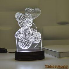 Tahtamoda 3D 3 Boyutlu Dekoratif Led Lamba Ayıcık- tht3d10