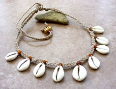 Cowrie Shell Tear Drop Necklace - Unisex - Fun Wear - Stylish - Durable by KipajiPraiseJewelry on Etsy