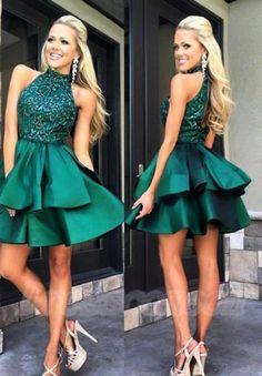 Green Homecoming Dresses,Halter Homecoming Dresses,Beading Prom Dresses,YY77