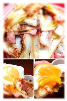 しゃっきっと白菜にチーズと目玉焼きが絡んで美味しぃ꒰*✪௰✪ૢ꒱ - 99件のもぐもぐ - chinese cabbage bacon cheese with fried egg sandwichとろシャキ白菜とベーコンチーズの目玉焼き乗せオープンサンド by honeybunnyb