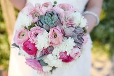 Gorgeous pink and white bridal bouquet in Beach Bliss shoot.