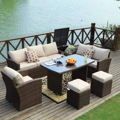 Outdoor Sofa Set Wicker Patio Sectional Furniture by Moda Furnishings (Brown), Patio Furniture (Steel) Resin Patio Furniture, Sectional Patio Furniture, Rattan Furniture Set, Backyard Furniture, Rattan Sofa, Sectional Sofa, French Furniture, Furniture Storage, Outdoor Sofa Sets
