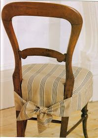 These chair cover ideas are in a lovely 'home projects' booklet from Homes and Gardens in the UK. Reupholster Furniture, Chair Upholstery, Upholstered Furniture, Painted Furniture, Diy Furniture, Kitchen Chair Covers, Dining Chair Seat Covers, Chair Back Covers, Dining Room Chair Slipcovers