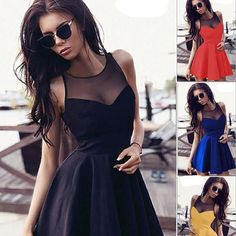 Summer 2016 Women New Style Short Sleeveless Mesh Party Dresses Sexy A-Line Dresses Casual Elegant Gril