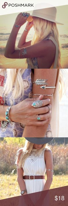 Bohemian arrowhead cuff Gorgeous silver arrowhead with turquoise color stone  arm cuff! ✨ Check out my other listings, bundle and save!  Jewelry Bracelets