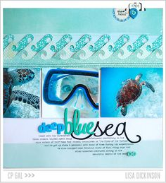 #papercraft #scrapbook #layout.   Crate Paper | CP Gal Lisa Dickinson | Deep Blue Sea via the Open Road collection and more