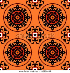 Ethnic pattern in bright color with stylized flowers, leaves and circular shapes with Kazakh, Turkish, Uzbek motifs Seamless vector texture for print, spring summer fashion, wallpaper, fabric, textile - stock vector