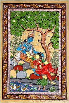 Radha Krishna Patachitra Indian Traditional Art Painting