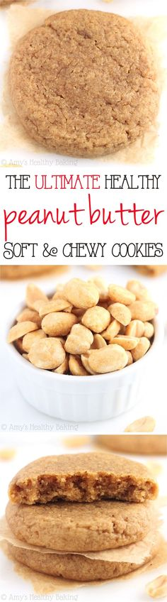 """Substitute flax """"eggs"""" and date sugar, and it would work for whole foods. [The ULTIMATE Soft & Chewy Peanut Butter Cookies -- these skinny cookies don't taste healthy at all! You'll never need another peanut butter cookie recipe again! Healthy Sweet Treats, Healthy Baking, Healthy Desserts, Delicious Desserts, Yummy Food, Healthy Foods, Baking Recipes, Cookie Recipes, Dessert Recipes"""