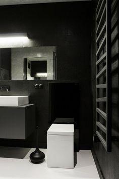 Salle de bain déco noir blanc gris