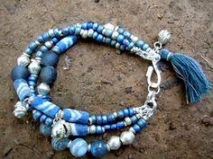 Blue Agate / Bohemian Bracelet / Gypsy Jewelry / by Syrena56, $46.00 Tribal Bracelets, Bohemian Bracelets, Jewelry Bracelets, Bead Crafts, Jewelry Crafts, Jewelry Ideas, Agate Beads, Glass Beads, Gypsy Jewelry