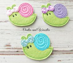 Hey, I found this really awesome Etsy listing at https://www.etsy.com/listing/223360928/snail-felt-appliques-snail-embroidered