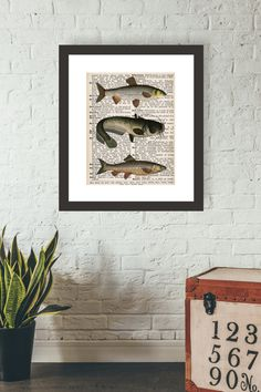 Fish Art Print, Dictionary Page Art, Book Print, Hunting Decor, Hunting Lodge, Man Cave Wall Art, Nautical Art, Fishing Gift For men