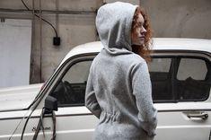 Sweater jacket with huge cap