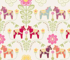dala_horse_pastel_rose_ecru L fabric by nadja_petremand on Spoonflower - custom fabric Horse Fabric, Horse Quilt, Sewing Tutorials, Sewing Projects, Craft Projects, Print Patterns, Sewing Patterns, Pastel Roses, Girl Decor