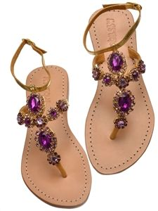 Gold and purple sandals