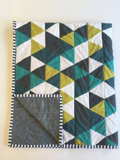 Emerald teal navy modern baby quilt | triangle quilt | woodland nursery | nautical nursery | by WilderAndBean