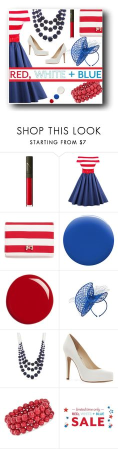 """Red White & Blue"" by quript on Polyvore featuring NARS Cosmetics, Ted Baker, JINsoon, Gucci, Kim Rogers, Jessica Simpson, Ross-Simons, vintage, america and redwhiteblue"