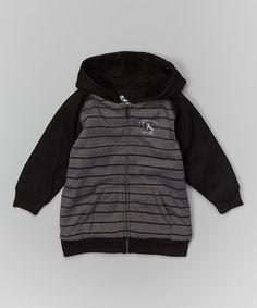 Love this Dark Gray Stripe Zip-Up Hoodie - Toddler on #zulily! #zulilyfinds