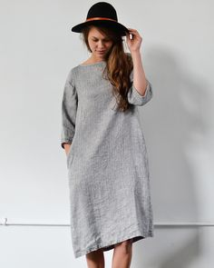 Fog Linen Grey Herringbone Dress
