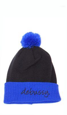 DEBUSSY BLACK & BRIGHT BLUE BEANIE HAT