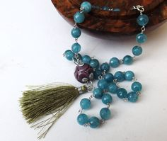 Tassel necklace, blue agate necklace, silk tassel, handmade glass bead, blue beaded necklace, modern necklace, sterling silver, green tassel by graciedot on Etsy