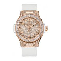 Hublot Big Bang 38mm Quartz Women's Watch, 18K Rose Gold, Diamond Pave... ($30,075) ❤ liked on Polyvore