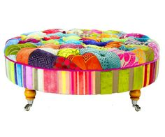 I am desperate for this or its square sister version!! Bespoke Round Patchwork Footstool/Coffee Table by JustinaDesign