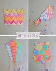 DIY Watercolor Lacing Cards. Great for little hands!