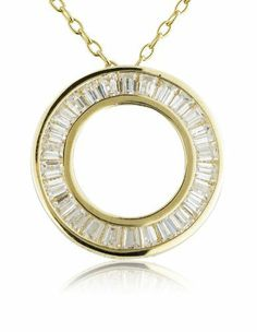 18k Gold over Sterling Silver Tapered Baquett Cubic Zirconia Circle Pendant Joolwe. $29.99