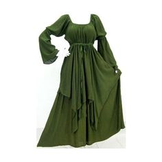 Green Dress Peasant Layer Renaissance - Fits (One Size) - L Xl 1x 2x -... ❤ liked on Polyvore