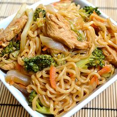 Chicken Yakisoba = chicken, ramen noodles, ginger, carrots, cabbage, onion, broccoli, & soy sauce.